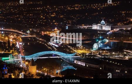 view over night Tbilisi. Georgia - Stock Photo