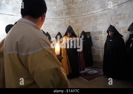 ISRAEL - JERUSALEM -  MAY 2014:  Armenian clergy taking part in a ceremony at Chapel of the Ascension on the Mount - Stock Photo