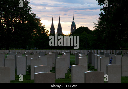 Bayeux British cemetery with graves of soldiers killed in Normandy invasion - Stock Photo
