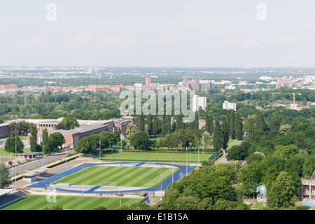The view from the glockenturm (bell tower) at the Olympic stadium, Berlin, Germany - Stock Photo