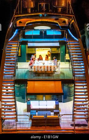 Europe, France, Corse-du-Sud (2A), Bonifacio. Dinner on a yacht. - Stock Photo