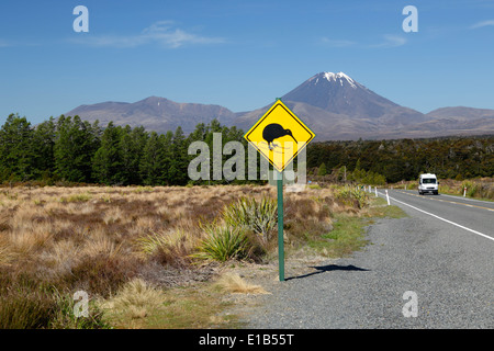 Motorhome below Mount Ngauruhoe with Kiwi crossing sign - Stock Photo