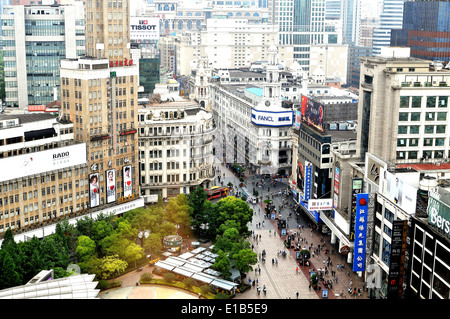aerial view on Nanjing Lu Shanghai China - Stock Photo