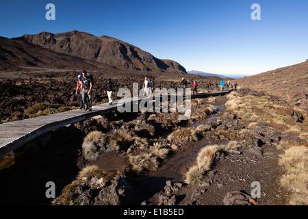 Boardwalk on the Tongariro Alpine Crossing near Mangatepopo Road end - Stock Photo