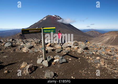 Tongariro Alpine Crossing with Mount Ngauruhoe - Stock Photo