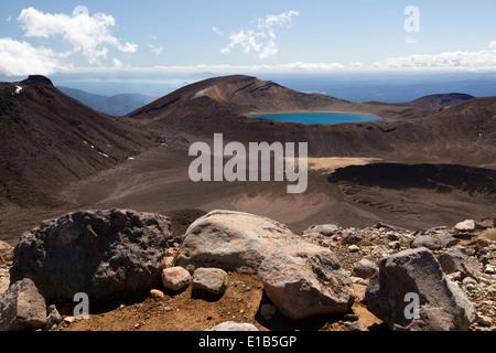 Blue Lake on Tongariro Alpine Crossing - Stock Photo