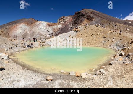 Emerald Lake on the Tongariro Alpine Crossing - Stock Photo