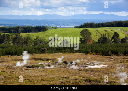 Craters of the Moon Thermal Area, Taupo, North Island, New Zealand - Stock Photo