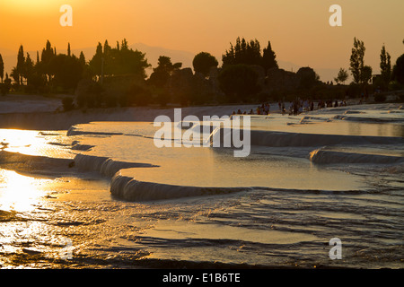 Travertine terrace formations. Pamukkale. Denizli province. Anatolia. Turkey, Asia. - Stock Photo