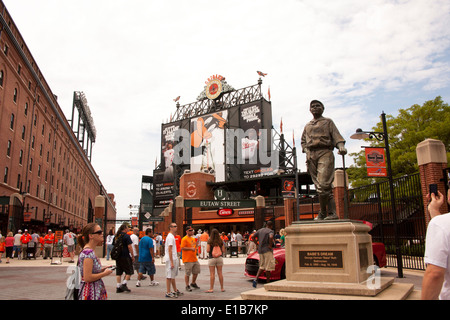 Statue honoring Babe Ruth in front of Orioles Park at Camden Yards in Baltimore Maryland - Stock Photo