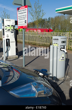Ecotricity free electric car charging point at Michaelwood motorway service station on the M5 North bound gloucestershire - Stock Photo