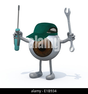 big brown eyeball with arms, legs and tools on hands, 3d illustration - Stock Photo