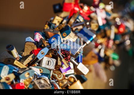 Love padlocks on a bridge, Kampa, Mala Strana, Prague, Czech Republic. - Stock Photo