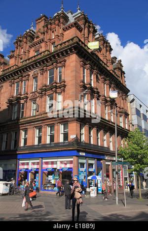 UK, Scotland, Glasgow, Sauchiehall Street, shops, people, - Stock Photo