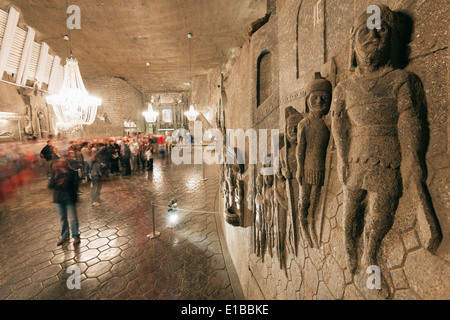 Europe, Poland, Malopolska, Krakow, Wieliczka Salt Mine, tourist route, Chapel of St Kinga, Unesco site - Stock Photo