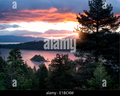 Sunrise over Emerald Bay with Fannette Island, Lake Tahoe, California. - Stock Photo