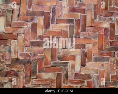 Close Up Details Of Herringbone Brick Floor Tiles