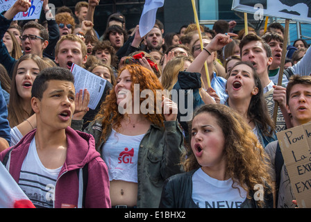 Paris, France, Anti-National Front Demonstration by Crowds Female French Teens Students, - Stock Photo