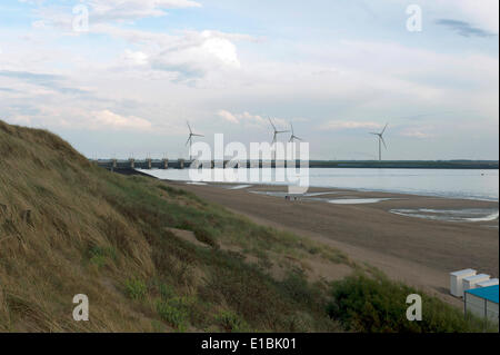 May 20, 2014 - Zeeland, The Netherlands - The Brouwersdam, a part of the Deltaworks in The Netherlands. In front - Stock Photo