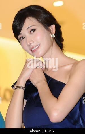 Taipei. 30th May, 2014. Actress Lin Chi-ling poses for photos at an opening ceremony of a Longines store at Taipei - Stock Photo
