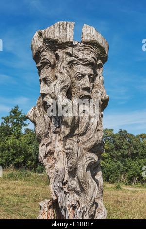 God sculpture Svantevit at the Slavic Jaromarsburg at Cape Arkona, Ruegen Island, Mecklenburg-Western Pomerania, - Stock Photo