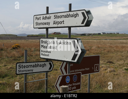 Bilingual sign for Stornoway airport Isle of Lewis Scotland  May 2014 - Stock Photo