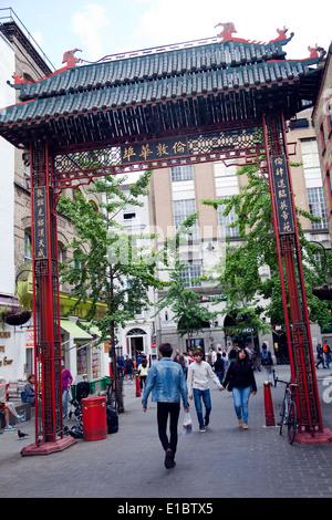 Chinatown Macclesfield Street approach in London Soho - UK - Stock Photo