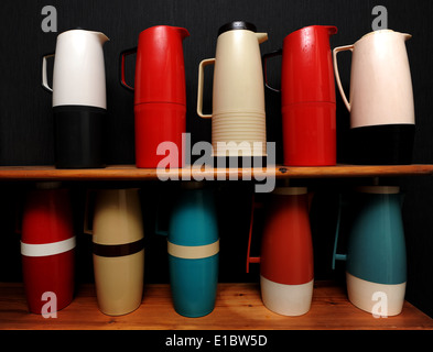 Display of vintage plastic flask collection - Stock Photo