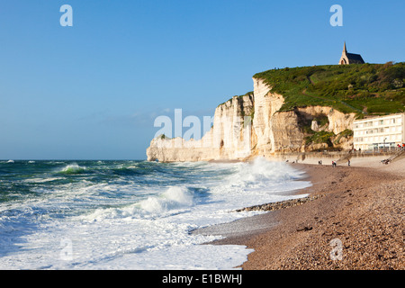 Beach and cliff at Etretat, Normandy, France - Stock Photo