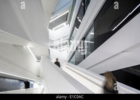 Jockey Club Innovation Tower, Hong Kong, China. Architect: Zaha Hadid Architects, 2014. Horizontal view of feature - Stock Photo