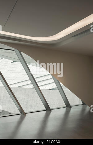 Jockey Club Innovation Tower, Hong Kong, China. Architect: Zaha Hadid Architects, 2014. View of north entrance lobby. - Stock Photo