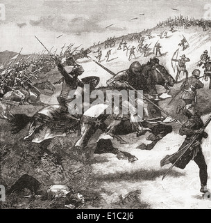 The charge of the Scots at The Battle of Humbleton Hill, also called Homildon Hill, 14 September 1402, Northumberland, - Stock Photo