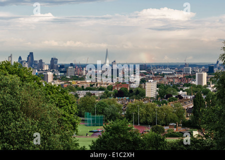 View of the City of London from Parliament Hill on Hampstead Heath, including the Shard, St Paul's Cathedral and - Stock Photo