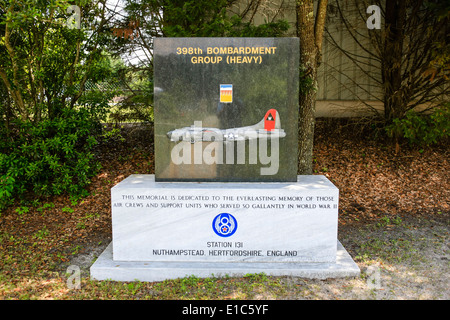 Headstones in the Memorial Gardens at the Mighty Eighth AF Museum at Pooler GA - Stock Photo