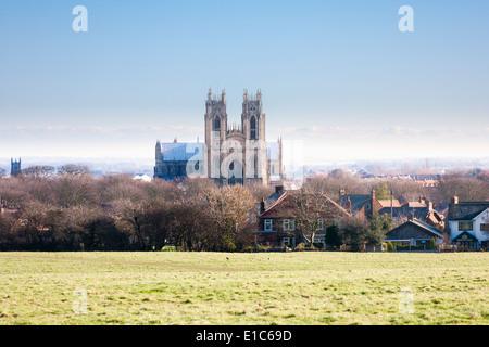 Beverley Minster church in Beverley, East Yorkshire, England, UK in winter - Stock Photo