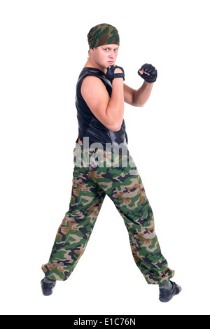 Soldiers in camouflage uniforms, isolated on white background - Stock Photo