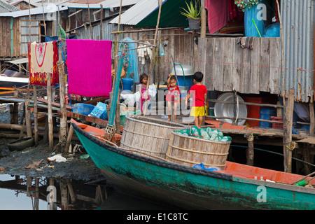 Fishing village in Sihanoukville Port,Sihanouk Province,Cambodia,Asia - Stock Photo