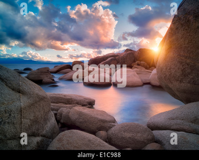 Storm clouds and granite boulders on east side of Lake Tahoe, Nevada - Stock Photo