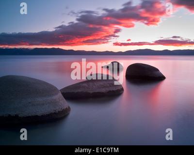 Sunset at Chimney Beach. Lake Tahoe, Nevada - Stock Photo