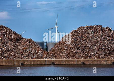 Heaps of recycled scrap metal at Van Heyghen Recycling export terminal in the port of Ghent, East Flanders, Belgium - Stock Photo