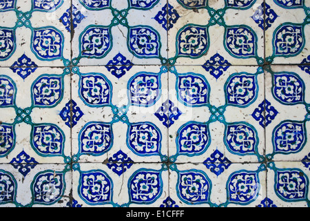 Old Wall Tiles of Yeni Mosque in Istanbul - Stock Photo
