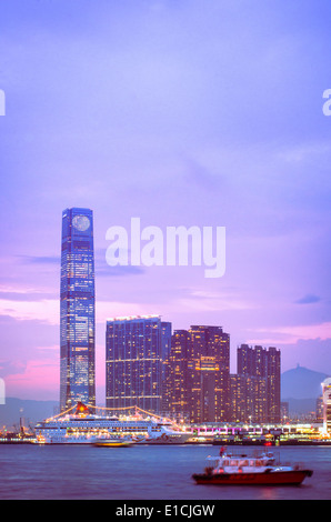 Kowloon side of Hong Kong Victoria Harbour. - Stock Photo