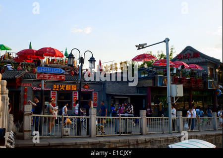 Bar street in Shichahai at dusk, Beijing - Stock Photo