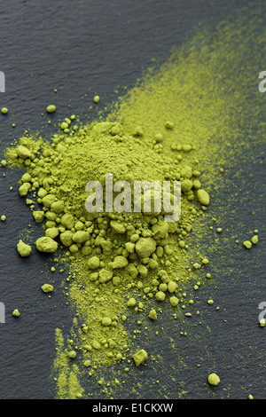 Directly above shot of matcha tea powder on table - Stock Photo