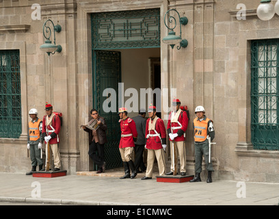 Guards/Soldiers in the Plaza Murillo, La Paz, Bolivia. The Palacio Quemado, which is the official residence of the - Stock Photo