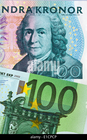 Swedish krona, the currency of Sweden.European and Euro banknotes