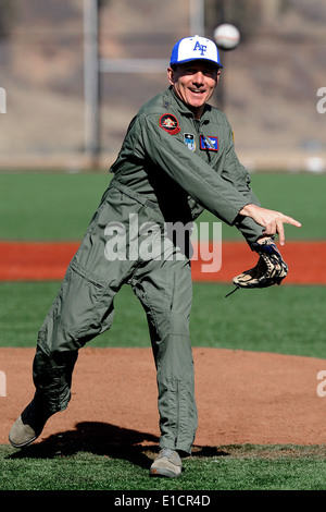 U.S. Air Force Lt. Gen. Mike Gould, the Air Force Academy?s superintendent, throws out the first pitch after the - Stock Photo