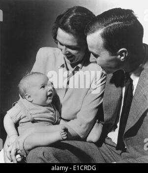 The future 41st U.S. President, George H. W. Bush and wife Barbara with their first born child, the future 43rd - Stock Photo