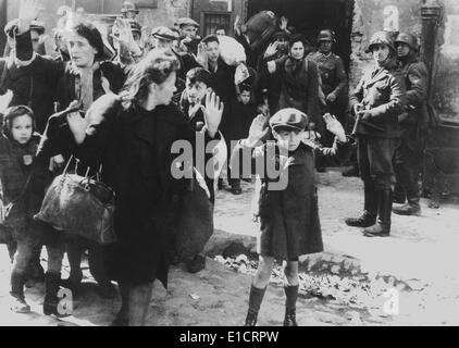Jews captured by German soldiers during the Warsaw Ghetto Uprising, April 19-May 16, 1943. They were 'forcibly pulled - Stock Photo