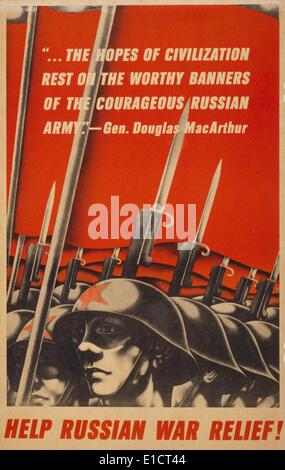 Help Russian war relief! American World War 2 poster depicting Soviet soldiers, with bayonets raised, and quotation - Stock Photo